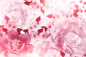 Spring flowers peonies and jasmine