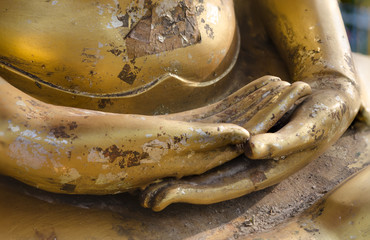 Hand of buddha statue in Thailand.