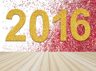 Wood floor with text 2016 on red glitter and white background