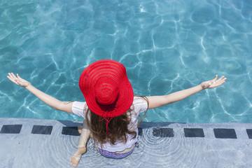 Girl Hat Swim Summer