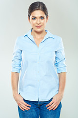 Isolated portrait of smiling woman. Casual style wear.