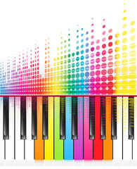 rainbow keys of piano and sound waves lines.vector