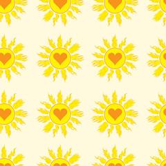 Seamless sun with hearts