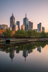 Melbourne city in the morning sunrise, Victoria state, Australia.