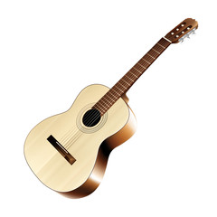 Isolated realistic classical acoustic guitar. Vector illustration.