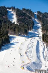 Skiers at ski slope
