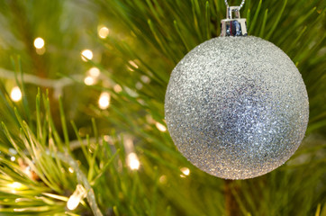 New Year pine-tree and decorations. Background for Christmas sales & discounts