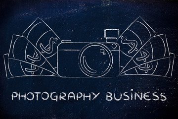 camera surrounded by cash, with text Photography Business