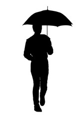 silhouette of a woman with an umbrella