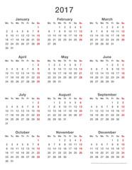 2017 calendar simple mondays first, format high