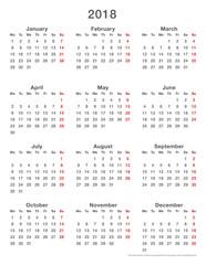 2018 calendar simple mondays first, format high