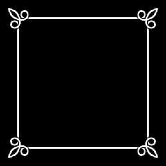 White Border Vintage Frame on Black Background. Vector