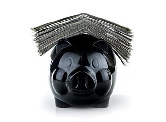 Cute black piggybank