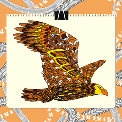 Zentangle stylized eagle. Animal bird collection. Hand drawn doodle. Ethnic patterned vector illustration. African, indian, totem, tribal design.