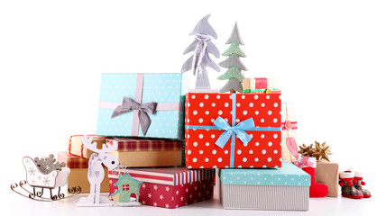 Beautiful Christmas gifts with toys isolated on white background