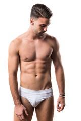 Brunette man in underwear