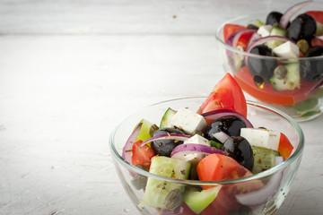 Greek salad in the glass dish horizontal
