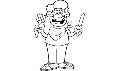 Black and white illustration of a hungry boy holding a knife and fork.