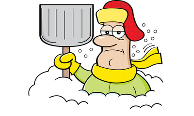 Cartoon illustration of a man buried in snow and holding a snow shovel.