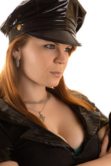 portrait police woman with hat close up