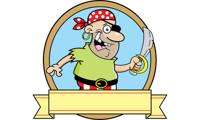 Cartoon illustration of a pirate inside a circle with a banner.