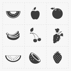 Fruit Black Icon set on White