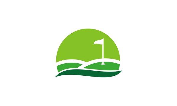 golf field flag vector logo
