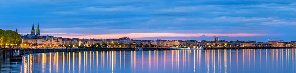 Panorama of Bordeaux in the evening - France