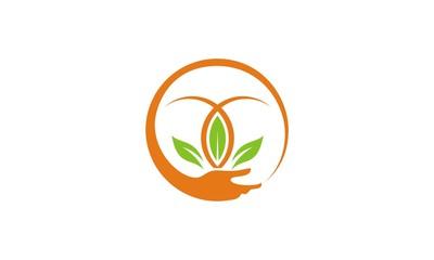 round hand green leaf ecology logo