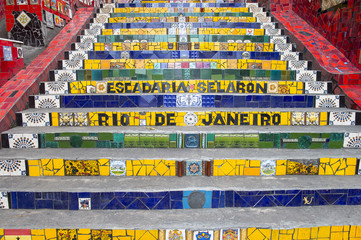 Rare empty view of colorful mosaic tiles at the Escadaria Selaron Steps, the world-famous tourist attraction in Lapa