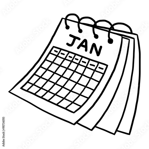Calendar Clipart Black And White : Quot calendar of january cartoon vector and illustration