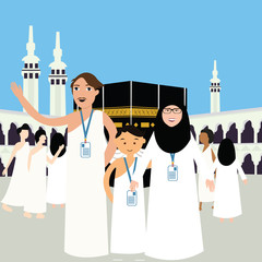 family haj hajj pilgrim man father mother woman kids wearing islam hijab ihram clothes vector illustration mecca ka'ba kabba kaba