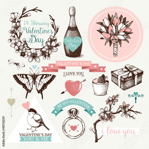 Vector Set Of Ink Hand Drawn Design Elements For Valentine S Day