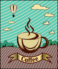 Retro banner with a cup of coffee