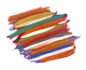 The fragment of multi-colored striped background painted with gouache