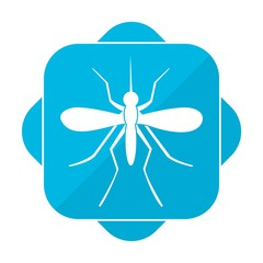 Blue square icon mosquito