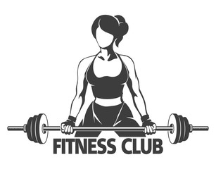 Woman with Barbell Fitness Emblem
