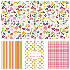 Repeating patterns for digital paper, scrapbooking, cards, invitations, gift wrap and paper backgrounds. File includes: floral print, stripes, polka dots, plaid.