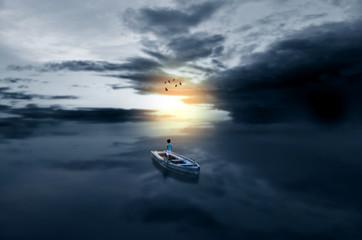 Journey towards light child in boat in waterscape sea