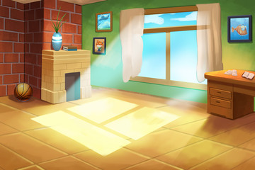 Illustration For Children: Little Kid(boy or girl)'s Room. Realistic Fantastic Cartoon Style Artwork / Story / Scene / Wallpaper / Background / Card Design
