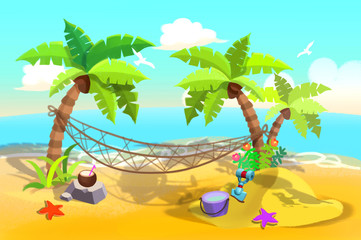 Illustration For Children: Sand Beach Hammock between Palm Trees. Realistic Fantastic Cartoon Style Artwork / Story / Scene / Wallpaper / Background / Card Design