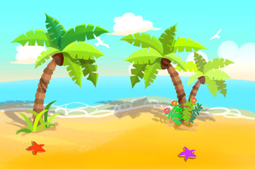 Illustration For Children: Beautiful Sand Beach with Swaying Palm Trees. Realistic Fantastic Cartoon Style Artwork / Story / Scene / Wallpaper / Background / Card Design