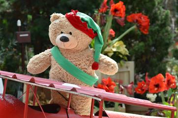 Teddy bear in beautiful Christmas background