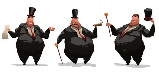 Vector cartoon image of three fat capitalists businessmen in black suits, white shirts, red ties and high hats in different poses and with different attributes on a light background.