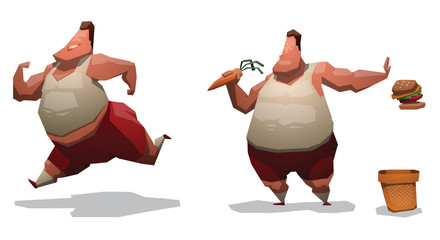Vector cartoon image of two fat men with brown hair in red shorts and white T-shirts that are trying to be better engaged in running and refuse harmful food  to useful on a light background.