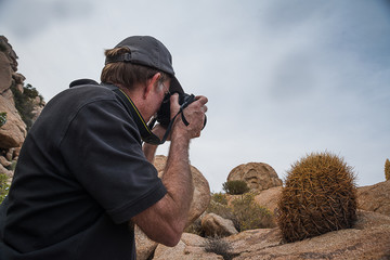 Male photographer taking a photo of a cactus
