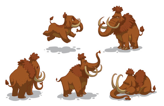 Vector Set of mammoths. Cartoon image of brown woolly mammoths in different poses on a light background.