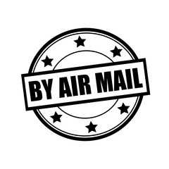 By air mail black stamp text on circle on white background and star