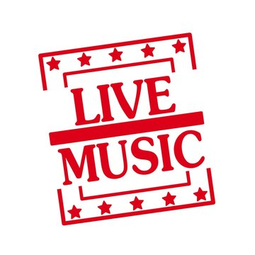 Live music red stamp text on squares on white background