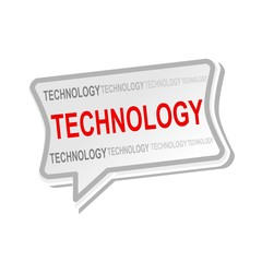 Technology multicolored word on gray Speech bubbles